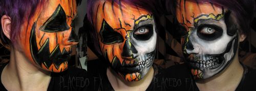 Skull - Pumpkin - Jack-O-Lantern - Halloween Makeup - Costume -  Love this!