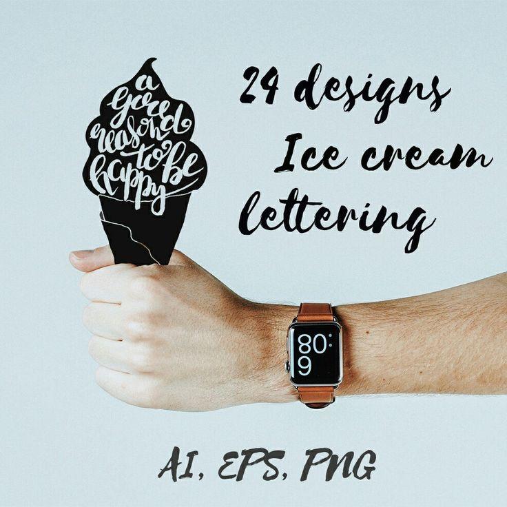 Hand drawn ice cream lettering