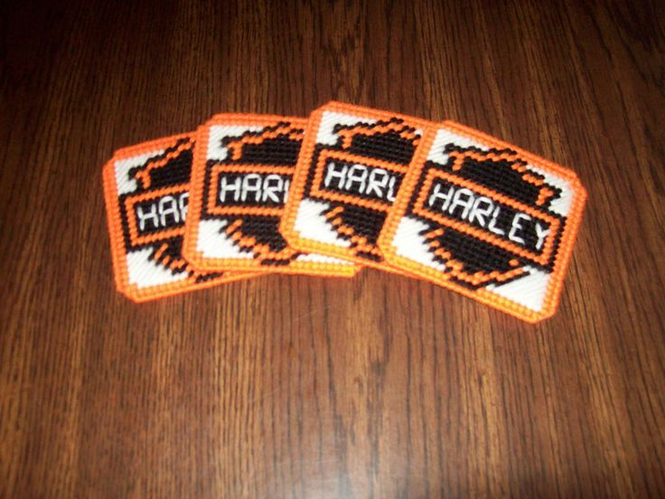 Set Of 4 Handmade Plastic Canvas Harley Davidson Coasters