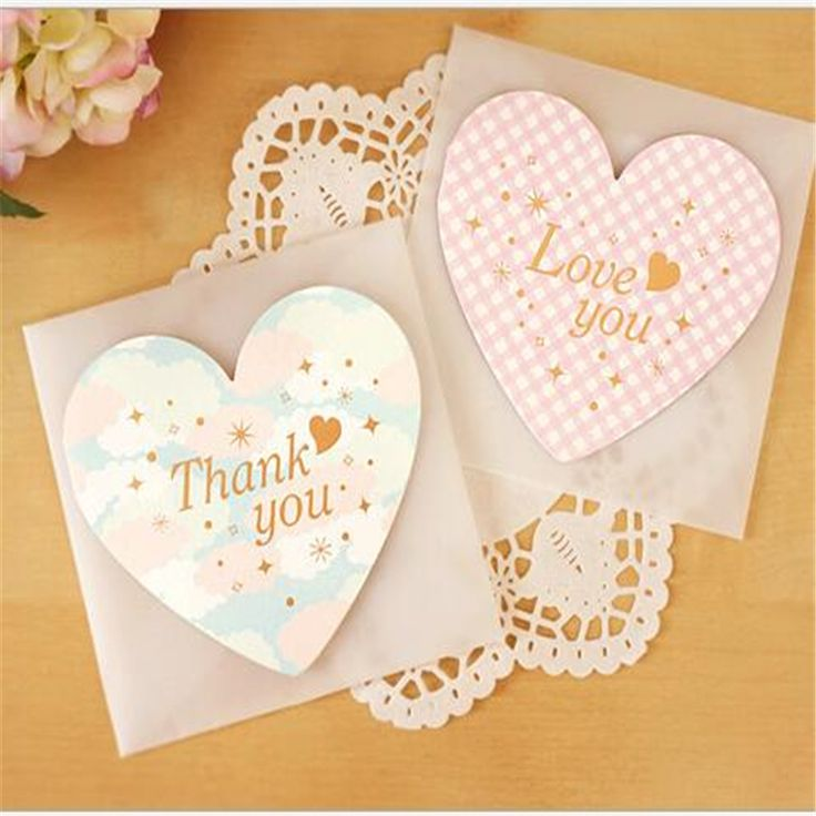 10pcs heart Message Card with Envelopes festive birthday greeting Cards Wedding event party supplies wedding favors decoration-b