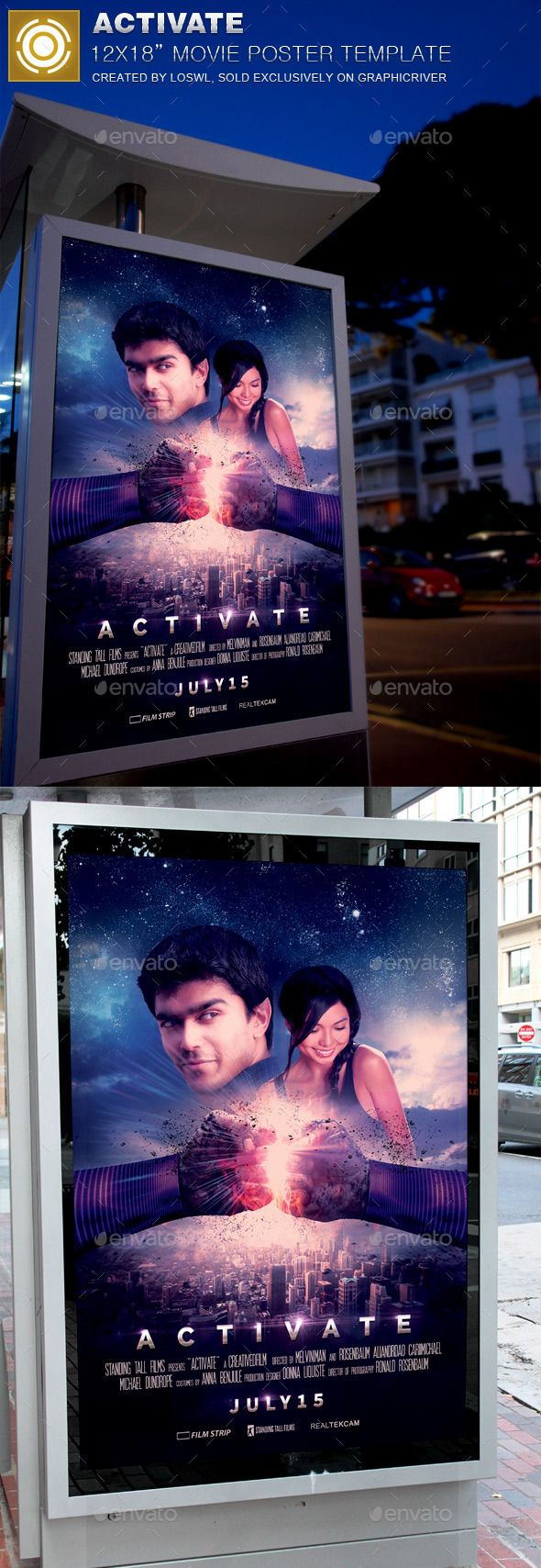 Activate Movie Poster Template is sold exclusively on graphicriver,?it can be usedfor your movie promotion, event marketing, etc. In this package you¡¯ll find 1Photoshop file. All text and graphics in the file are editable, color coded andsimple to edit. The fi