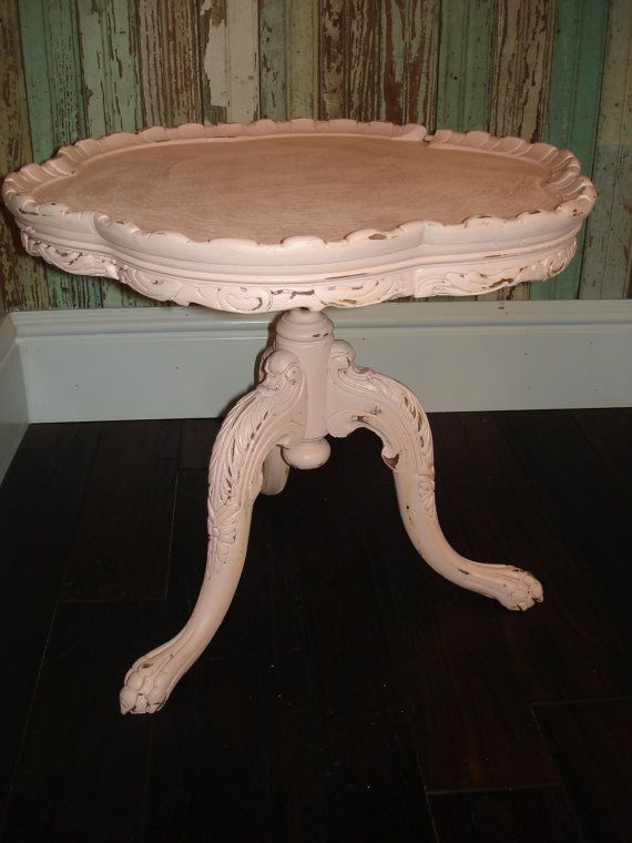 Vintage Shabby Chic Side Table. This would be adorable in a teal.