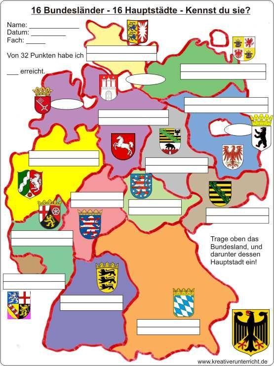 16 Bundesländer-16 Hauptstädte – 16 federal states of Germany