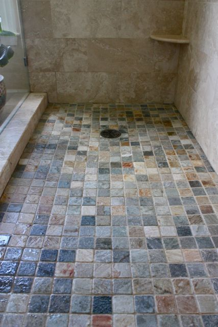 Like The Colors And The Size If The Tiles Master Bath Shower Rect640 Think I Want These Colors In Slate Showershower Floor Tileshower Panmaster Bathroom