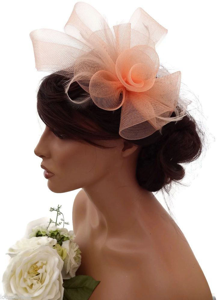 Elegant Pale Peach Flower Bow Mesh Net Hair Clip Grip Fascinator Feathers Races