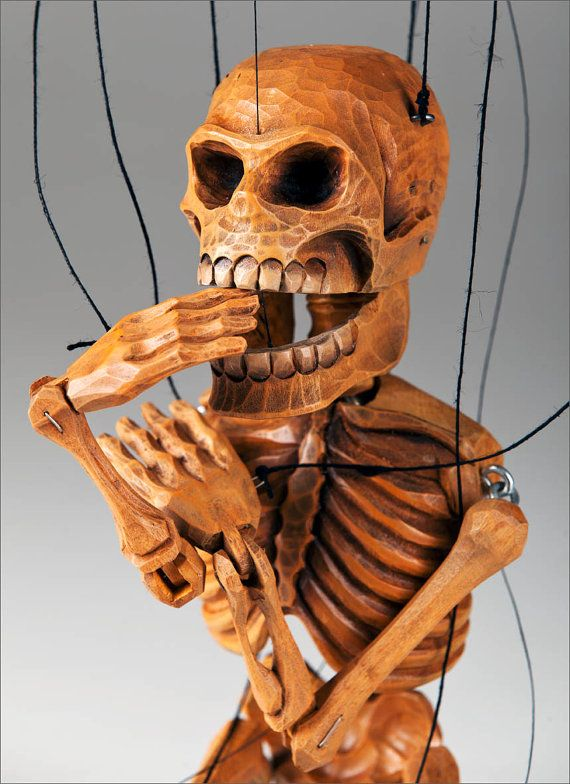 Smiling Skeleton Marionette Puppet by CzechMarionettes on Etsy,