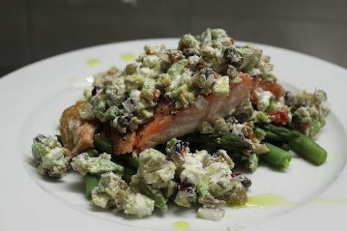 Salmon with olive and feta salsa