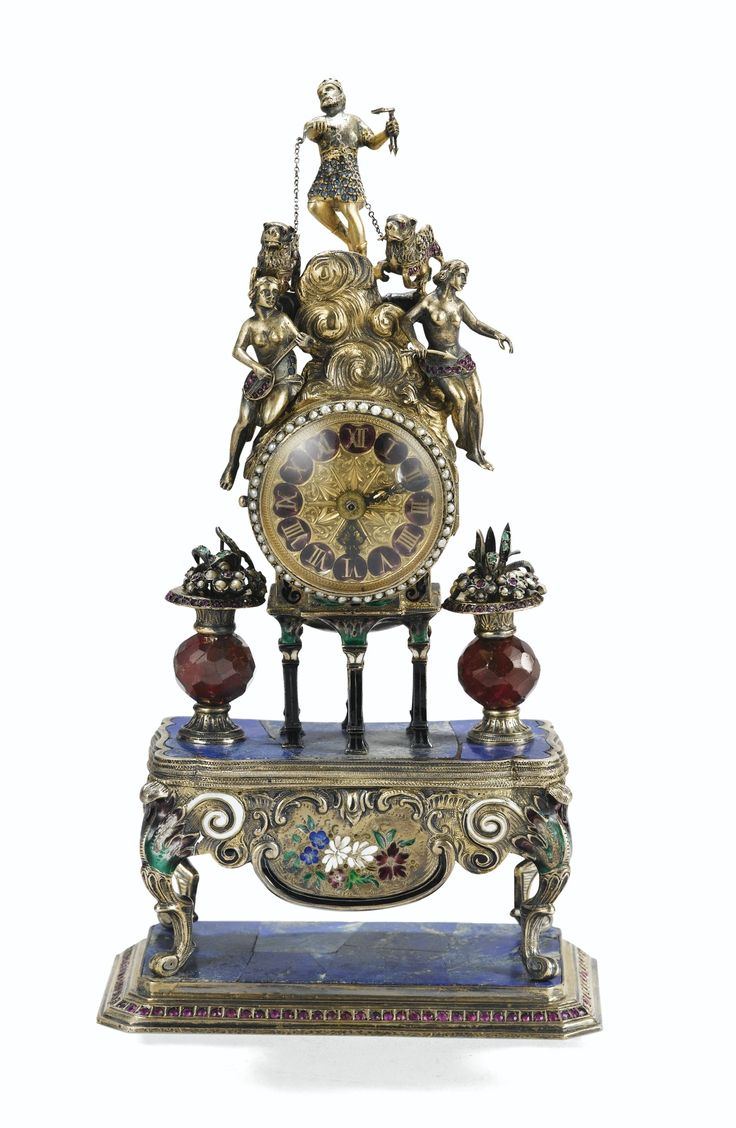Horloge de table en lapis, vermeil, pierres précieuses et émail, Autriche-Hongrie, vers 1880 | lot | Sotheby's