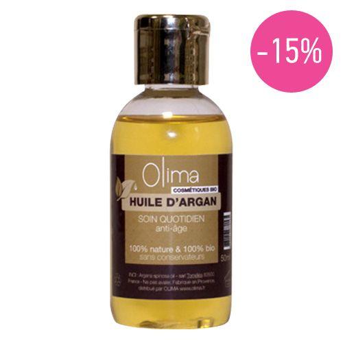 Huile d'argan   par OLIMA         Olima vous propose une huile d'Argan pure, 100% BIO issue d'une coopérative agricole du sud est du Maroc.     QUEL RESULTAT?   Utilisée depuis des siècles au Maroc pour ses propriétés cosmétiques, l'Huile d'Argan Olima est riche en acide gras essentiels et en vitamine E, antioxydants qui préviennent le dessèchement de la peau.     Promo : 11,00€   au lieu de 12,90€ (soit 1,90€ d'économie)