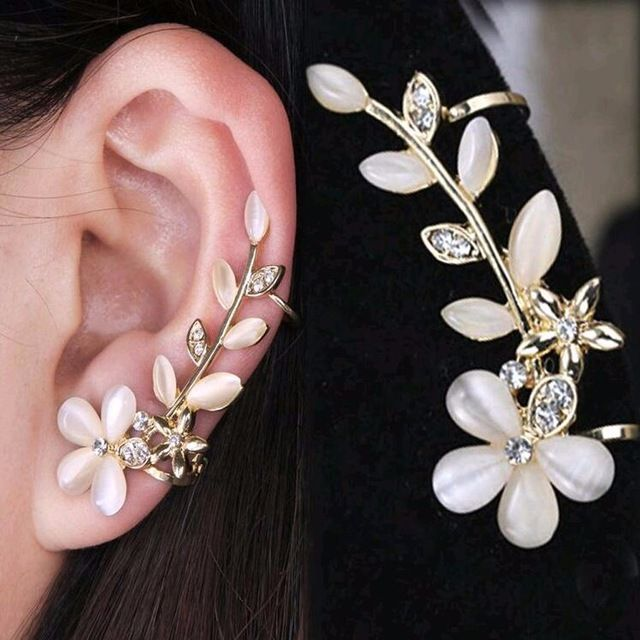 TOMTOSH 2017 New 1pc Flower Shape Rhinestone Left Ear Cuff Clip Golden Earring Ear Stud