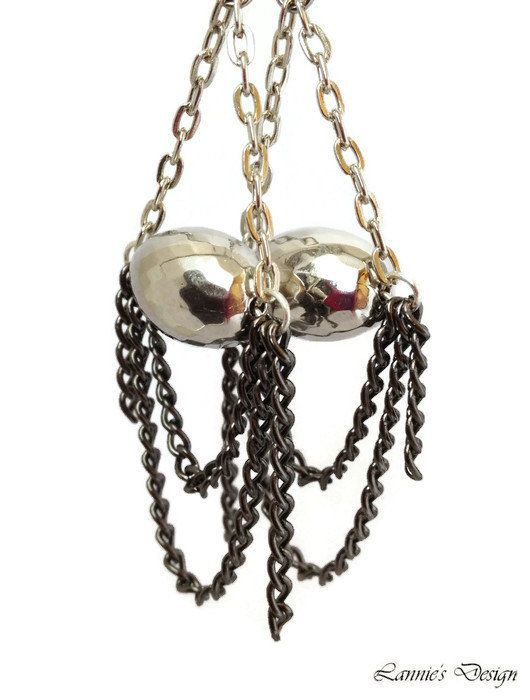 Silver Chandelier Earrings with Chains and Silver Tone Beads