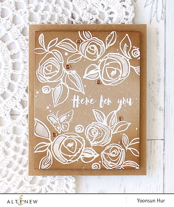 RejoicingCrafts: White roses on kraft card with the new Altenew Bamboo Rose stamp set. #altenew #white #flowers #handmade #card #stamping #cardmaking #kraft