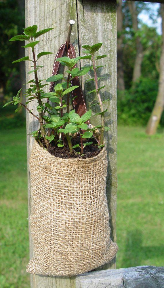 Herb or Flower Sack. Burlap Hanging Herb Pocket