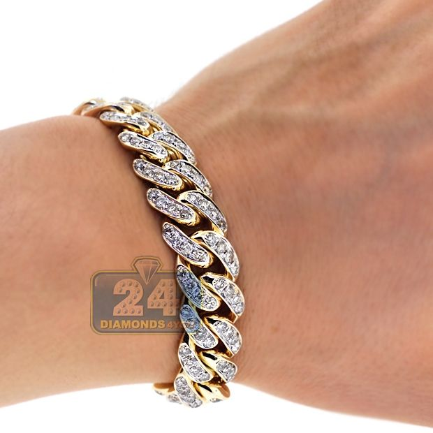 Mens Diamond Miami Cuban Link Bracelet 10k Yellow Gold 8 3 4 Inch Mens Gold Bracelets Bracelets For Men Link Bracelets