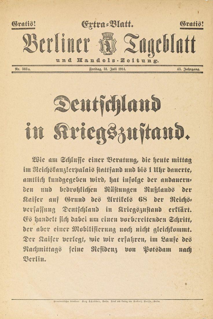 """Exponat: Zeitung: """"Deutschland in Kriegszustand"""" Berliner Tageblatt, 1914"""