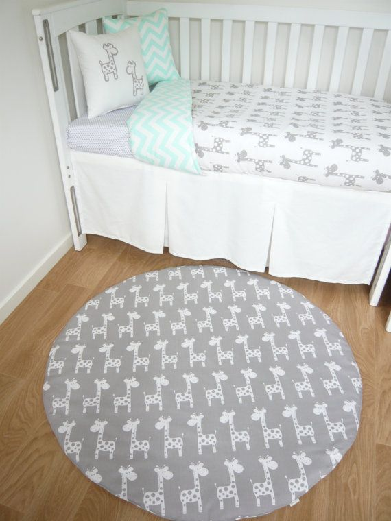Grey and mint giraffe nursery set by MamaAndCub on Etsy