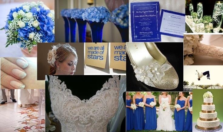 Blue + ivory/champagne sparkle wedding board. Night sky theme ...