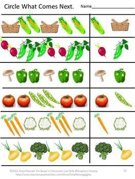 Fruit and Vegetable Worksheet Set PK,K,Special Education, Autism-This Fruit and Vegetable Worksheet set consists of 12 Worksheets. It is designed to help children identify fruits and vegetables