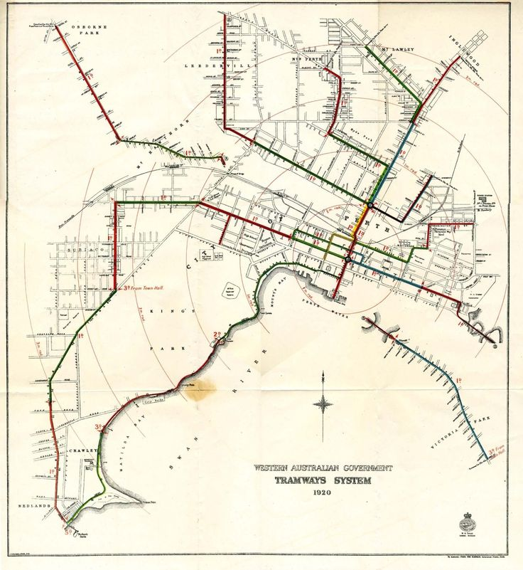 Historical Map: Tramways System of Perth, Australia, 1920