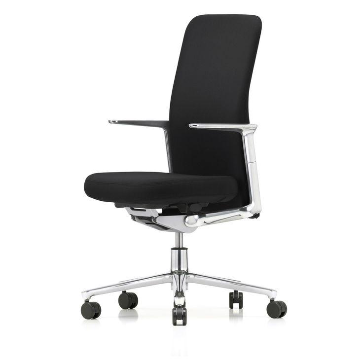 Vitra - Pacific Chair hoch, Alu-Armlehnen fix, Fünfstern-Gestell Alu poliert, Rollen Teppichboden, Sitz und Rücken schwarz / nero (Plano) Schwarz T:46 H:108 B:57