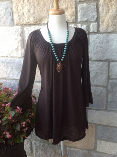 Brown ruffle sleeve top - Tee for the Soul