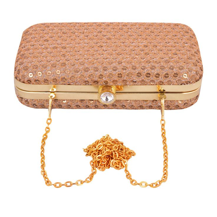 Smart Rich Golden Box Clutch With Long Metal Sling Women Partywear Summer Sale!! #ArishaKreationCo #Clutch