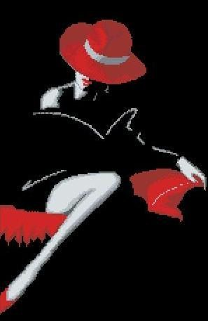 0 point de croix femme sexy noir et rouge - cross stitch sexy lady in black and red