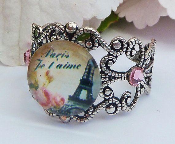 Filigraner Ring in silber mit Eiffelturm Paris von Schmucktruhe, €12.50