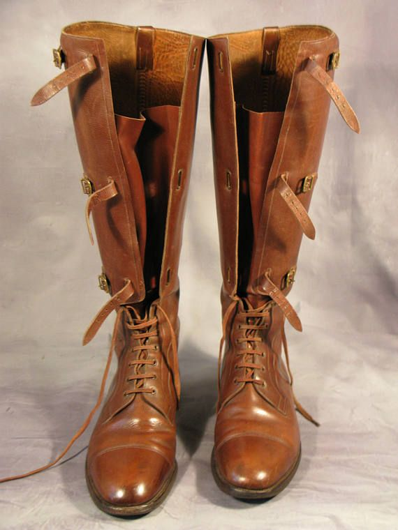 Superb Edwardian Period WW1 British Army Officer Pattern Long Leather Field Boots Made By Manfield & Sons Ltd Northampton England  A superb pair of Edwardian period WW1 pattern British army officer leather long field boots made by the high class bespoke shoe and boot makers Manfield