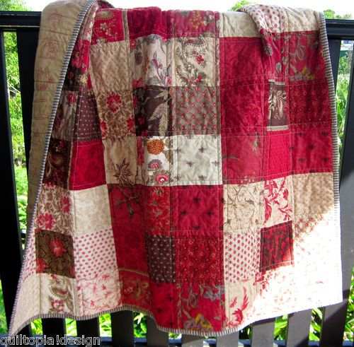 Handmade Antique Style Patchwork Baby/Lap Quilt Fabric Josephine, French General. $79.95