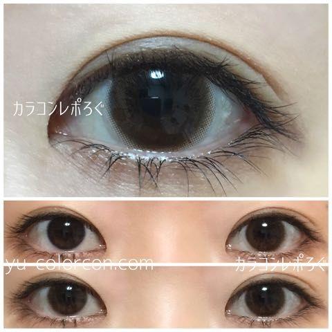 A** Venus Eyes Natuelle brown** 1 m 14.5/13.7/8.6/38.5%/0.12 ヴィーナスアイズナチュエルブラウン・蛍光灯すっぴん