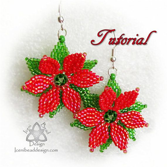 PDF Tutorial Christmas Poinsettia Earrings with Faceted Crystal beads and Seed beads.. Pattern, Instructions, beadwork.