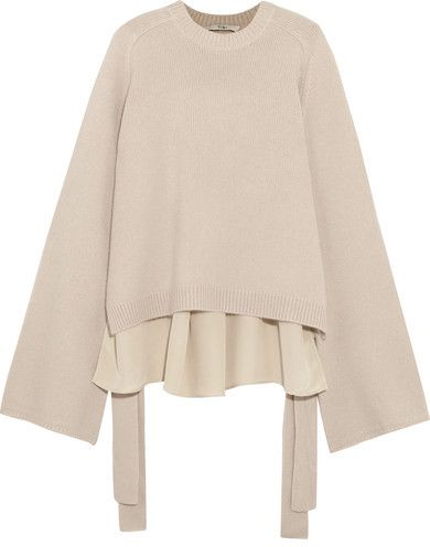Tibi - Silk-paneled Cashmere Sweater - Cream  Details: This sweater is spun from warm cream cashmere with a fluid silk back that drapes beautifully.