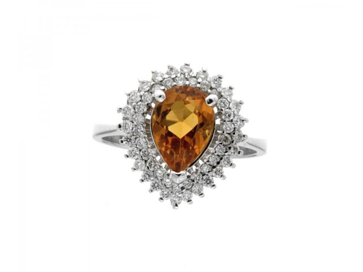 Anello vintage oro bianco a goccia topazio giallo diamanti carati 0,45 G VVS2