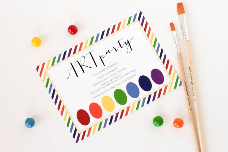 The TomKat Studio: Nancy O'Dell's Rainbow Art Party. Love these adorable invitations!