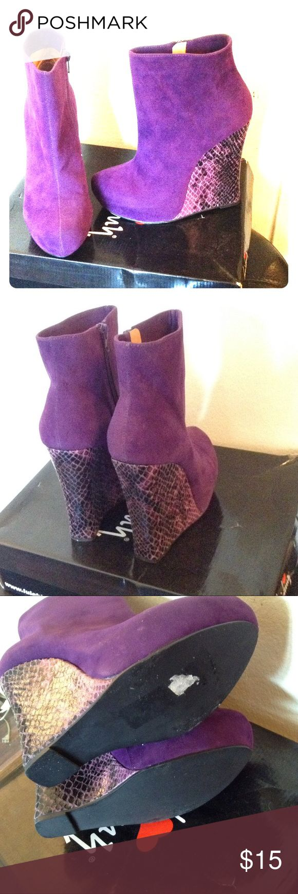 Purple wedge boots Snake skin print wedge ankle boots great condition JustFab Shoes Ankle Boots & Booties
