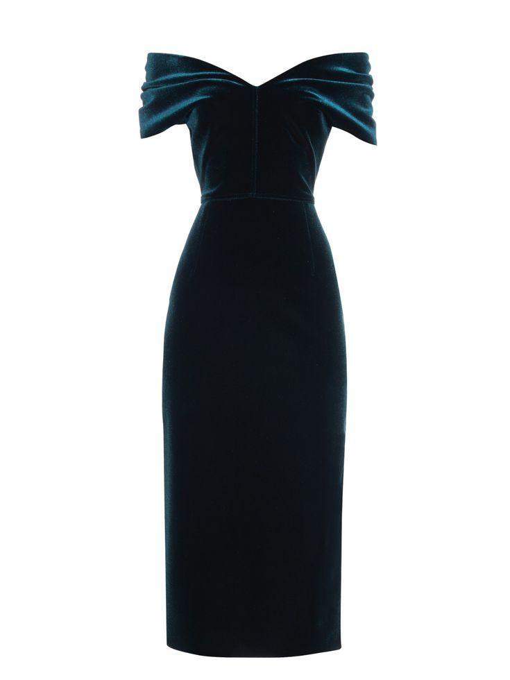 Off-the-shoulder velvet midi dress by Emilio De La Morena | Shop[ now at #MATCHESFASHION.COM