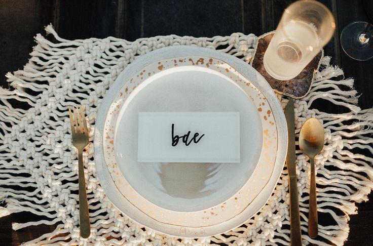 macrame gold plate tablescape     #tablescape #bohotablescape