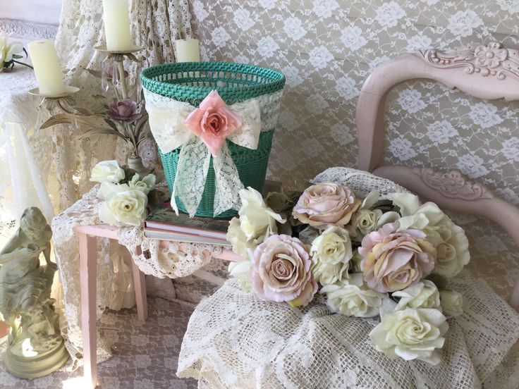 Shabby wicker waste basket waste container vintage pink rose and vintage lace shabby cottage - Shabby chic wastebasket ...