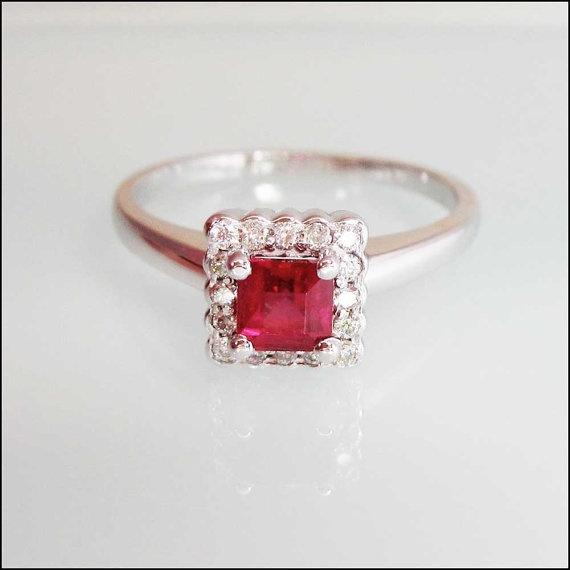 alternative engagement ring princess cut ruby diamonds 14k