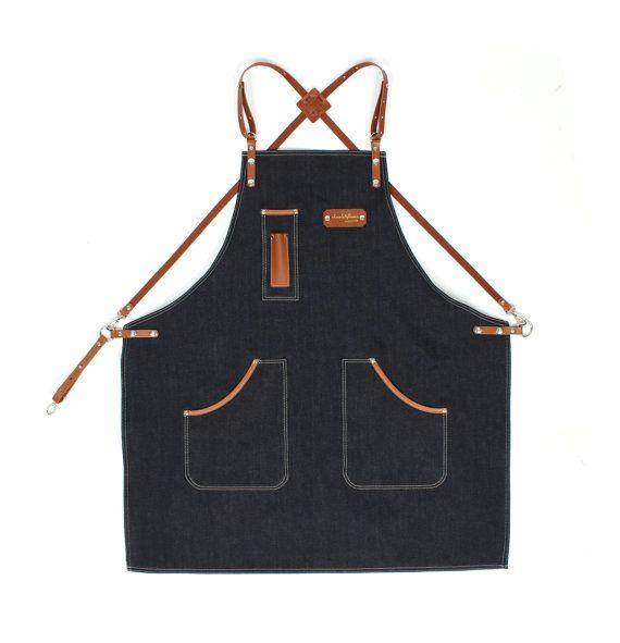 Barista Apron Indigo Denim with Honey Brown Leather by KustomDuo