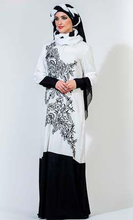 Embroidered Color Block Rayon Abaya