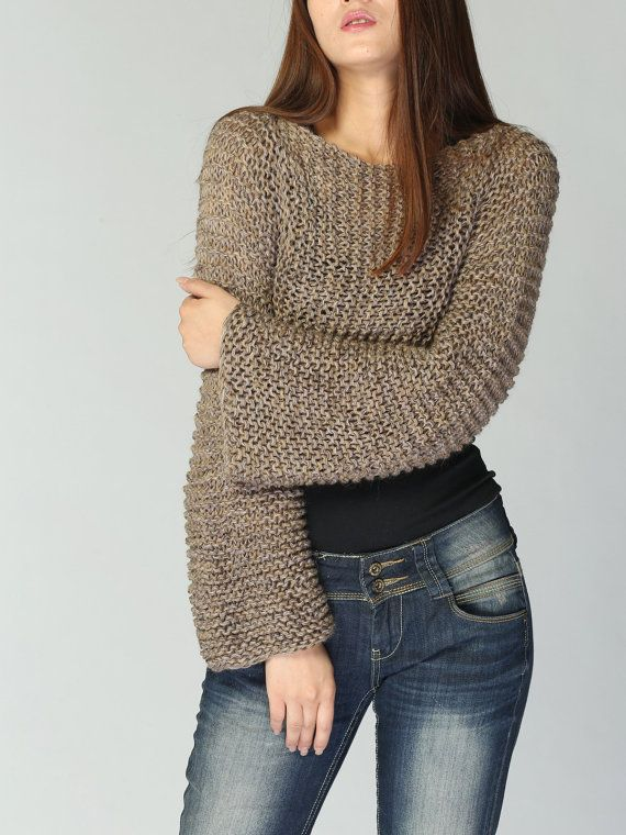 A littlie cover up top is a perfect item for layering. It is stylelish and unique. I used high quality 100% super soft cotton chunky yarn in a beautiful Mocha/Coffee color shade. The sleeve is extra long.  More new colors are coming.    Size: S(0-2) M(4-6) L(8-10) size S-M-L are ready to ship. Exlarge size needs to made for order. pls. allow me 2-3 weeks to knit.    Hand wash in cold water and lay flat to dry.    Pls. check the sweater section for more options:  http://www.etsy...