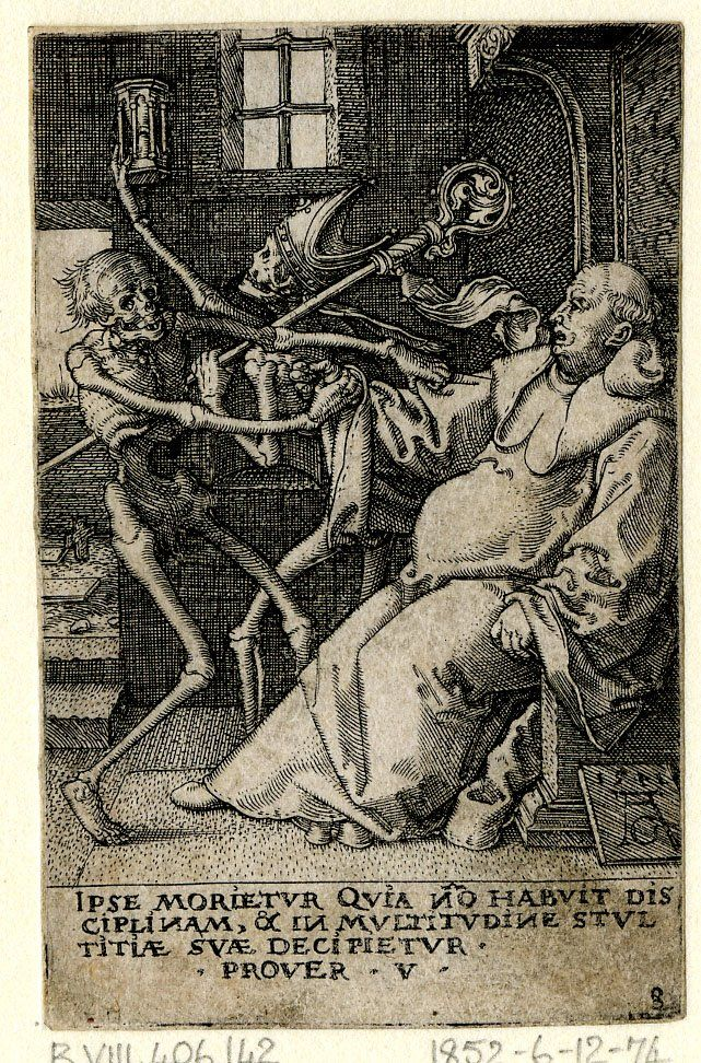 The Power of Death/ Allegory of Original Sin and Death  Print made by Heinrich Aldegrever   After Hans Holbein the Younger: Recorded