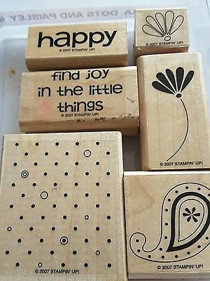 Stampin-039-Up-POLKA-DOTS-AND-PAISLEY-6pc-Mounted-Rubber-Stamp-Retired