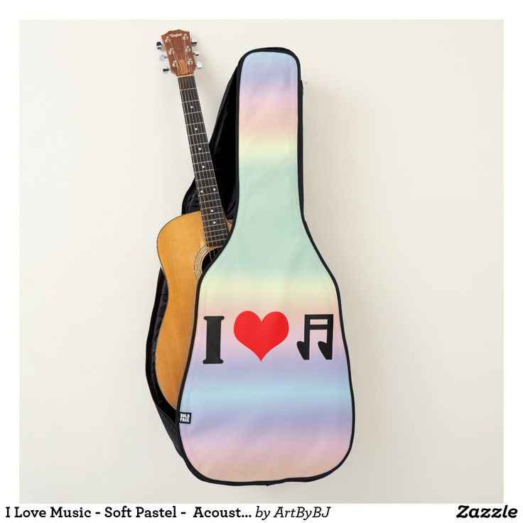 I Love Music - Soft Pastel -  Acoustic or Electric Guitar Case  - A Wonderful Christmas Present for ANY Guitar Player - order it as an Electric Guitar Case or an Acoustic Guitar Case.  Visit to See LOTS MORE!
