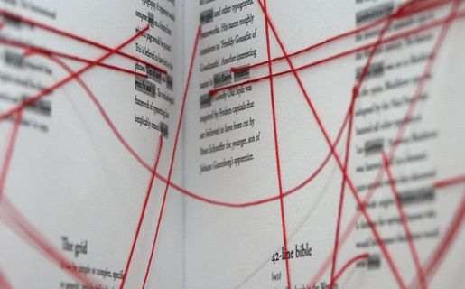 Typographic Links is a collectable hand-sewn publication which maps interesting links and connections throughout the world of typography. Red threads are used as three-dimensional 'hyperlinks' to guide the reader through the pages of the book.