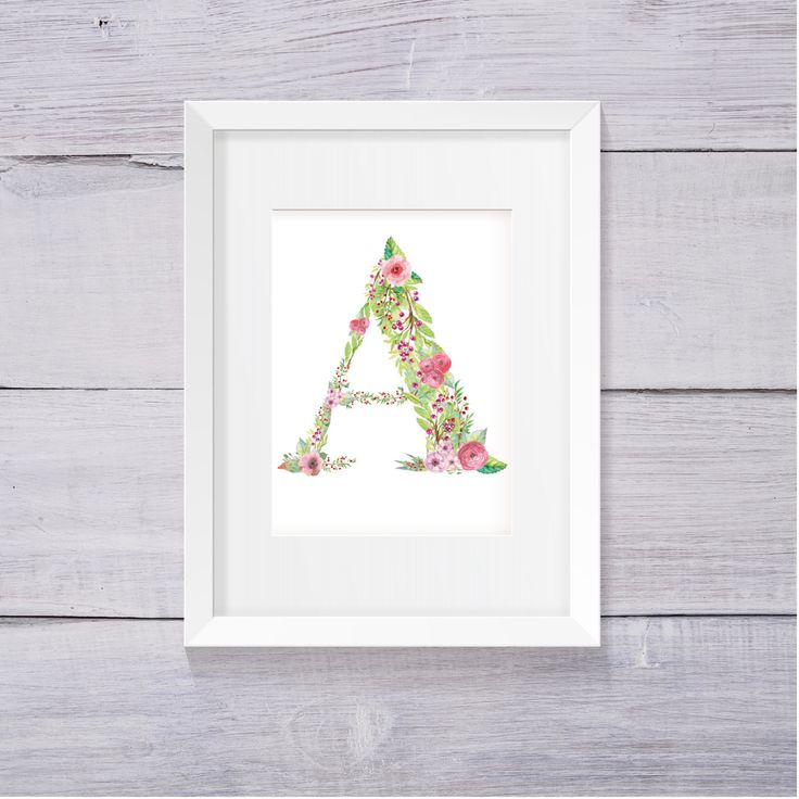 Letter A Nursery Decor, Nursery Wall Art, Floral Monogram, Printable Letters…