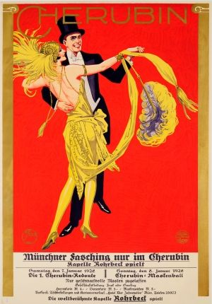 Cherubin Carnival Dancers Munich Fasching 1928 - original vintage poster by Viktor Otto Stolz listed on AntikBar.co.uk