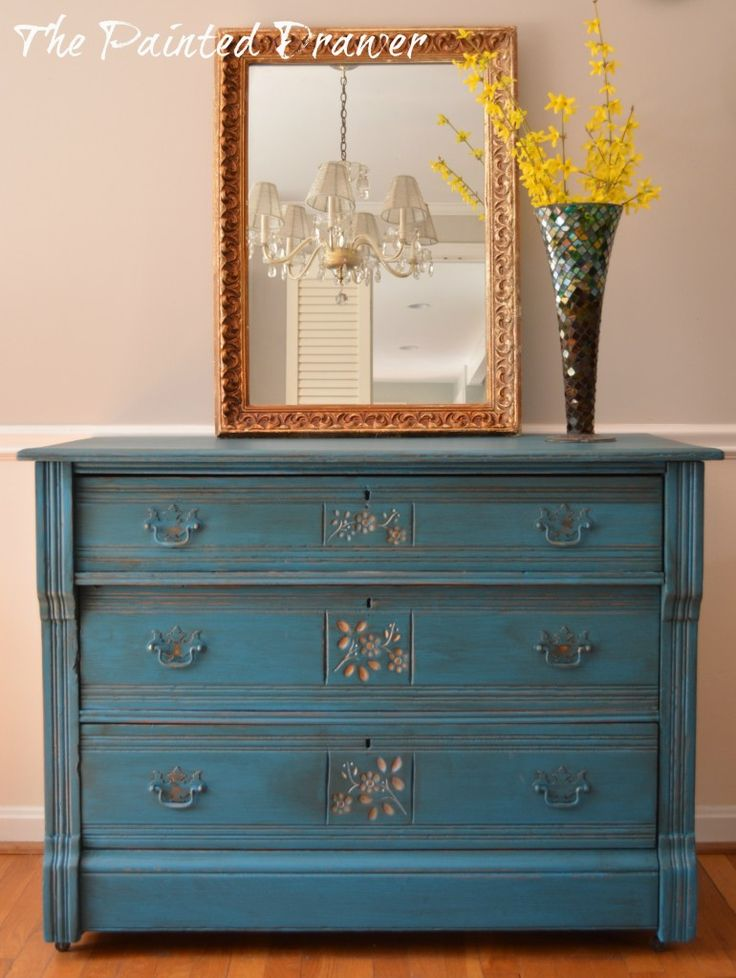 Peacock Blue And Gold Eastlake Dresser, Painted Furniture, Repurposing  Upcycling